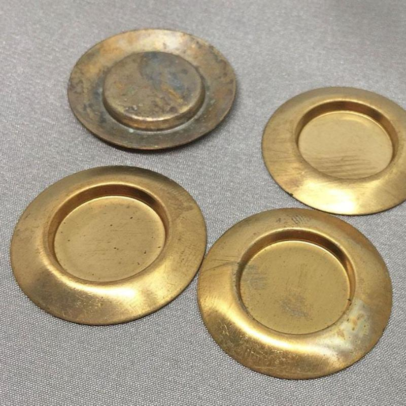 6 Vintage Brass Domed Round Setting Stampings