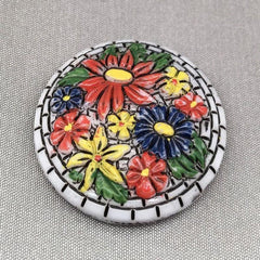 1 Vintage Hand Painted German Floral Round Glass Cabochon