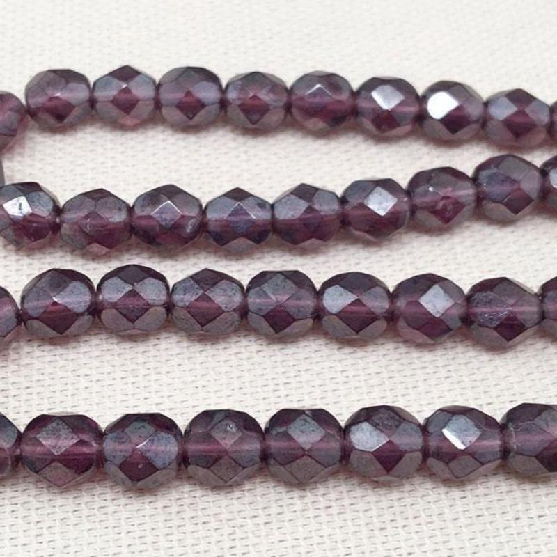 50 Purple Luster Czech Faceted Glass Beads