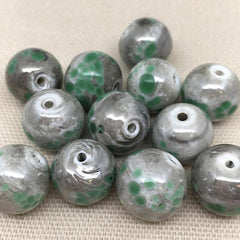 10 Vintage Handmade Mottled Gray Green Round Glass Beads