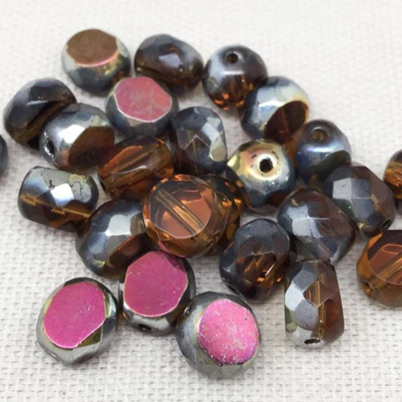 25 AB Silver Amber Czech Coin Beads