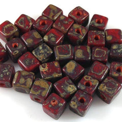 25 Red Picasso Czech Cube Glass Beads
