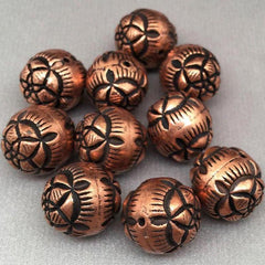 10 Vintage Copper Acrylic Rose Beads