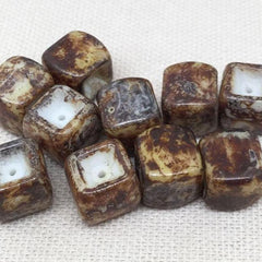 10 Vintage Golden Brown Picasso Austrian Cube Glass Beads