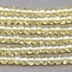 100 Light Yellow Czech Rondelle Glass Beads