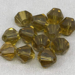 12 Vintage Faceted Olive Green Bicone Glass Beads