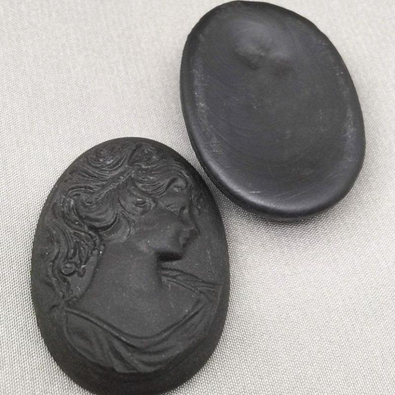 1 Vintage Matte Black German Cameo Oval Glass Cabochon