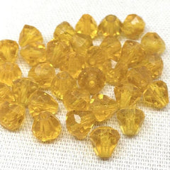 20 Vintage Golden Yellow Faceted Cone Glass Beads