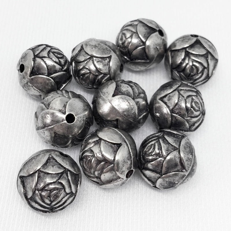 10 Vintage Antiqued Silver Acrylic Rose Beads