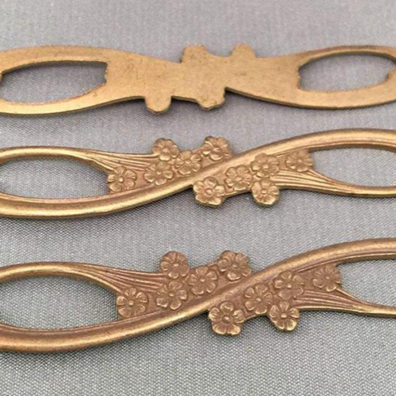 2 Vintage Brass Fancy Ornate Floral Metal Connector Findings