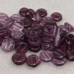 50 Vintage Mixed Purple Czech 2-Hole Coin Glass Beads