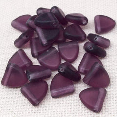 25 Matte Amethyst Purple Czech Drop Glass Beads