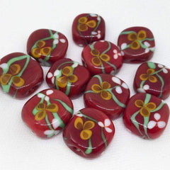 1 Red Christmas Artisan Lampwork Glass Bead