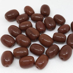 25 Vintage Rustic Brown Czech Oval Glass Beads