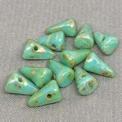12 Opalescent Turquoise Picasso Czech Spike Glass Beads