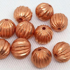 10 Vintage Copper Metallic German Ribbed Round Lucite Beads