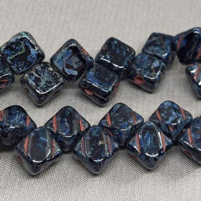 40 Black Picasso Czech 2-Hole Glass Beads