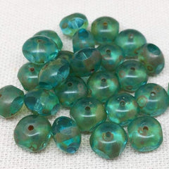 25 Aqua Green Picasso Czech Quadrie Rondelle Glass Beads