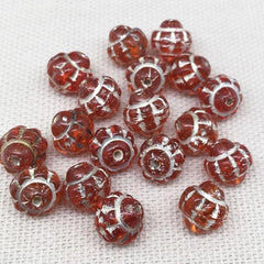 20 Vintage Fire Red Czech Silver Etched Saturn Glass Beads