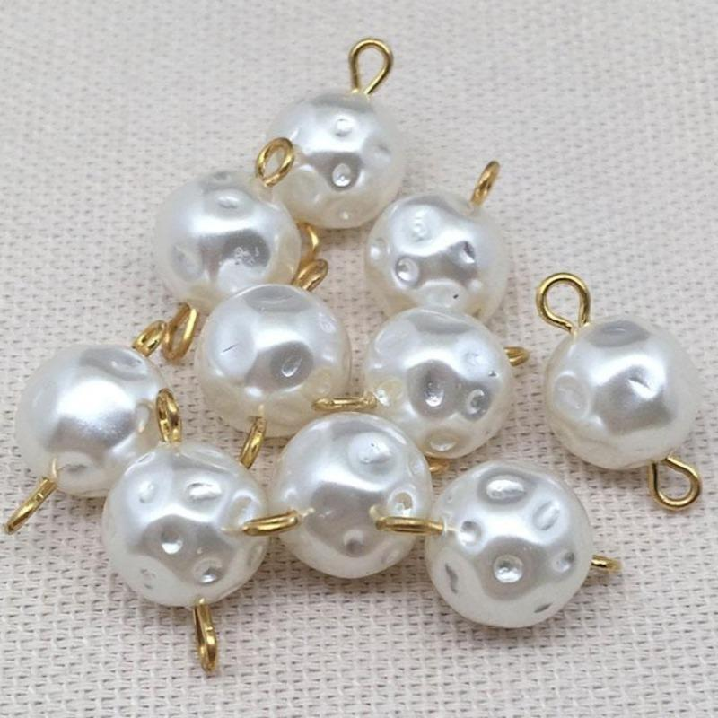 10 Vintage Ivory Haskell Lucite Japan Pearl Connector Beads