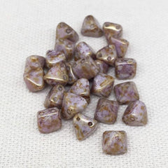 25 Pink Brown Picasso Czech Stud Pyramid Glass Beads