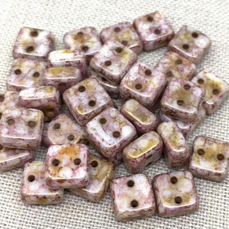 50 Chexx Czech 2-Hole Square Picasso Glass Beads