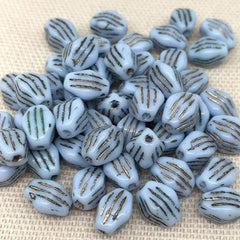 25 Vintage Striped Blue Czech Diamond Glass Beads