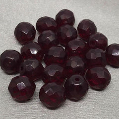 20 Translucent Dark Red Garnet Czech Glass Beads