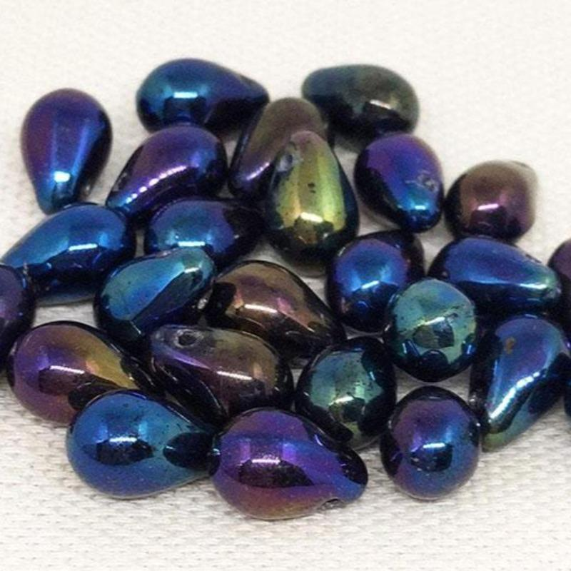 25 Czech Iris Drop Glass Beads