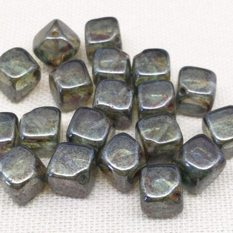 25 Translucent Green Czech Picasso Cube Glass Beads