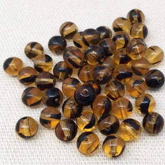 25 Striped Golden Yellow Czech Round Glass Beads