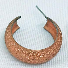 4 Vintage Textured Copper Plated Metal Open Loop Stud Earrings