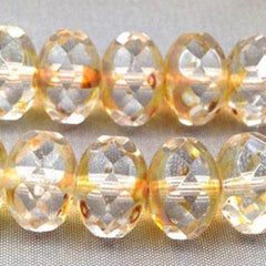 12 Clear Gold Picasso Czech Rondelle Glass Beads