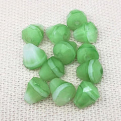12 Vintage White Green German Givre Cone Glass Beads