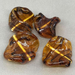 4 Vintage Translucent Topaz Glass Beads Tortoise Striped