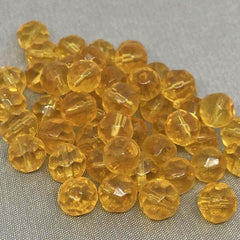 50 Vintage Translucent Topaz Faceted Round Glass Beads