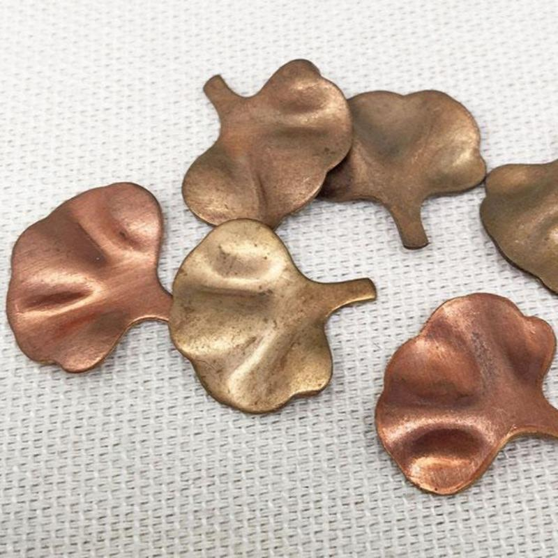 12 Vintage Gingko Leaf Brass Metal Stampings