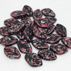 25 Mottled Black Pink Czech Leaf Glass Beads