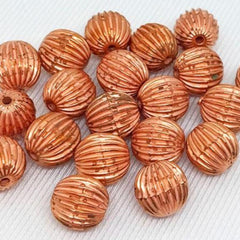 20 Vintage Copper Metallic German Ribbed Round Lucite Beads