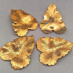 4 Vintage Textured Gold Plated Metal Leaf Findings
