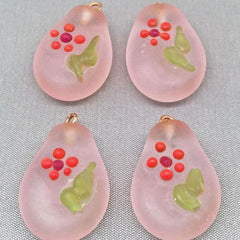 2 Vintage Handmade Frosted Pink Glass Pendants