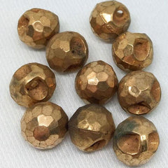 10 Vintage Faceted Metallic Lucite Button Beads