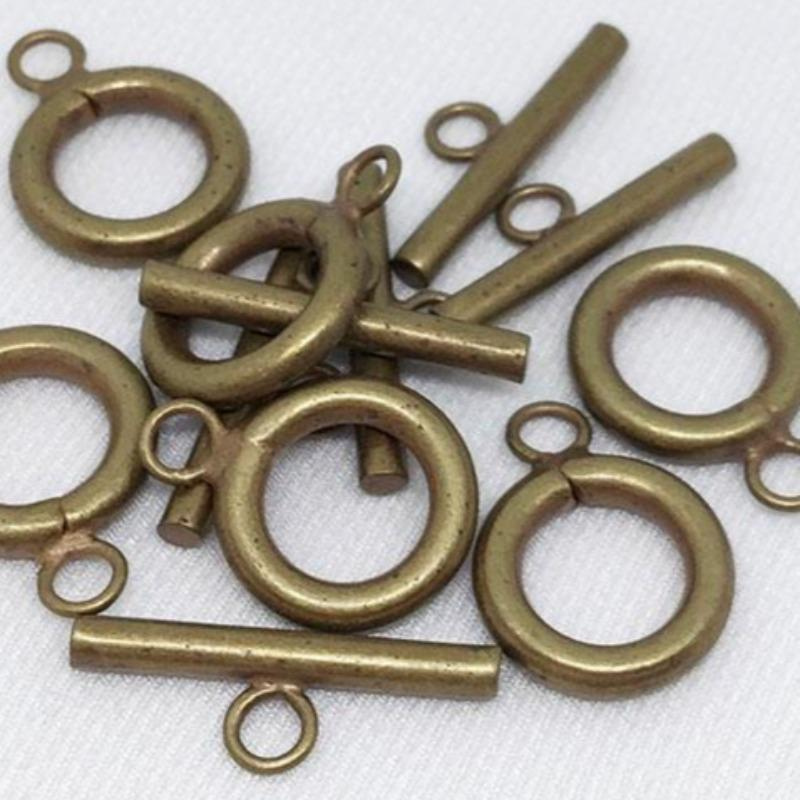 6 Plated Bronze Toggle Clasps