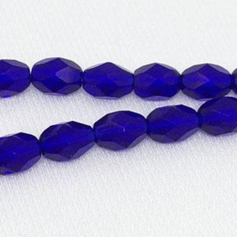 25 Translucent Cobalt Blue Czech Faceted Oval Glass Beads