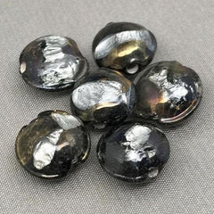 6 Vintage Black Bronze Metallic Foil Japan Coin Glass Beads