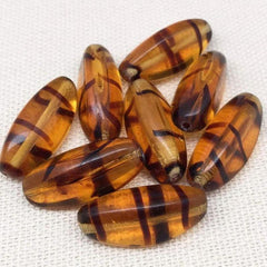 8 Vintage Three Sided Topaz Czech Oval Glass Beads