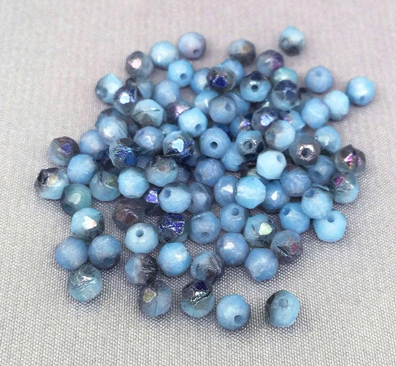 100 Light Opal Blue Czech English Cut Glass Beads Azure