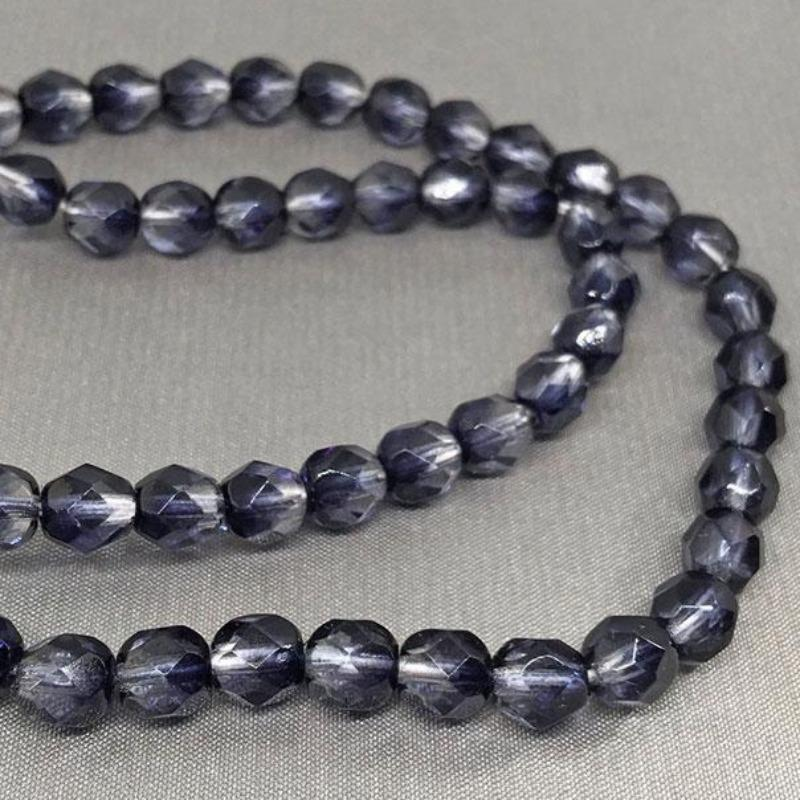 75 Two Tone Clear Midnight Blue Czech Glass Beads