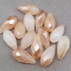 50 Faceted Cream Beige Briolette Glass Beads
