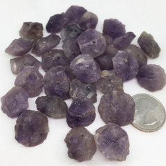 Hammered Amethyst Gemstone Beads